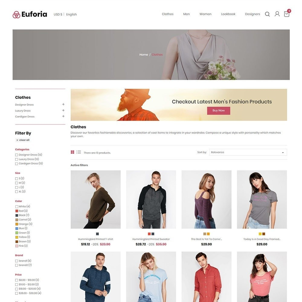 theme - Fashion & Shoes - Euforia Designer  - Fashion Cloth  Store - 2