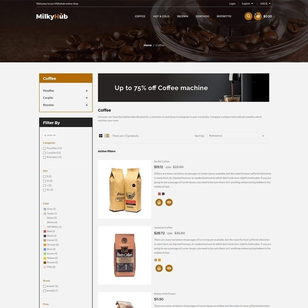 theme - Продовольствие и рестораны - Milkyhub Drink - магазин кофе - 3