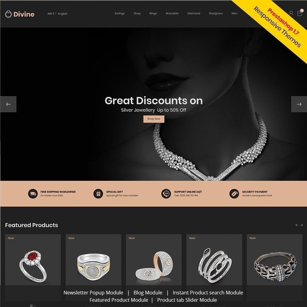 theme - Joalheria & Acessórios - Joalharia Diamond Gold Silver - Loja de luxo - 2