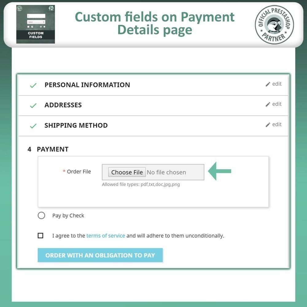module - Cadastro e Processo de Pedido - Custom Fields, Add Extra Fields to Checkout | Order - 7