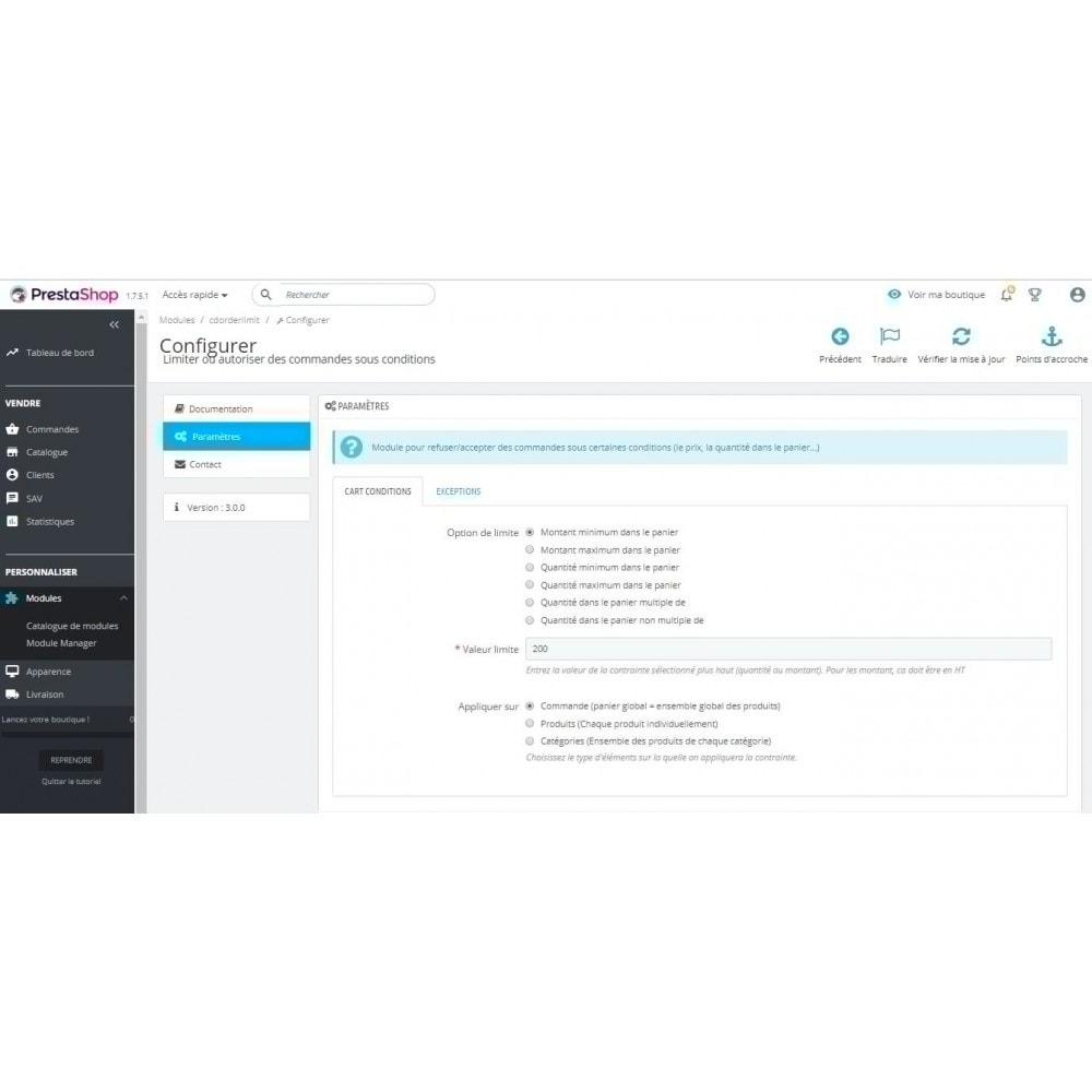 module - Inscription & Processus de commande - Limiter ou autoriser des commandes sous conditions - 2