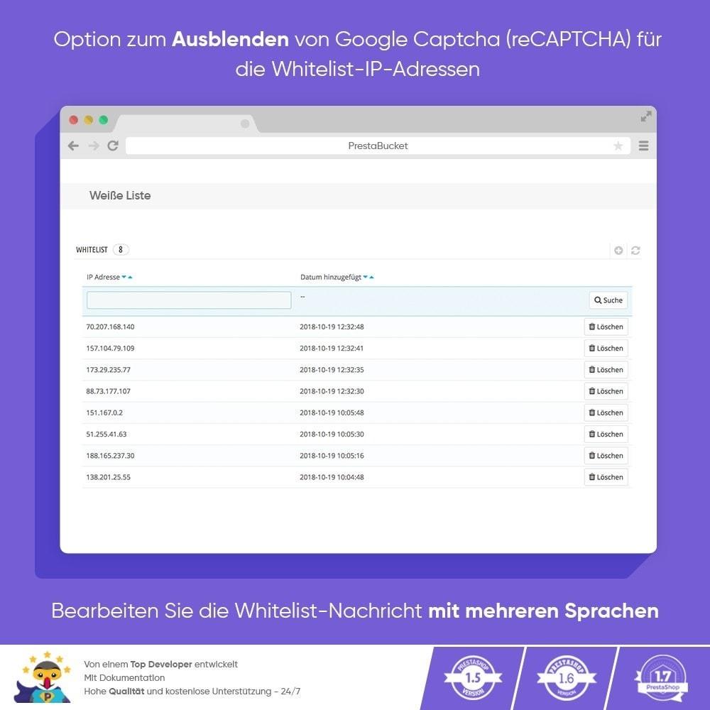 module - Sicherheit & Brechtigungen - CAPTCHA Google reCAPTCHA PROFI + Anti-Fälschungen - 5