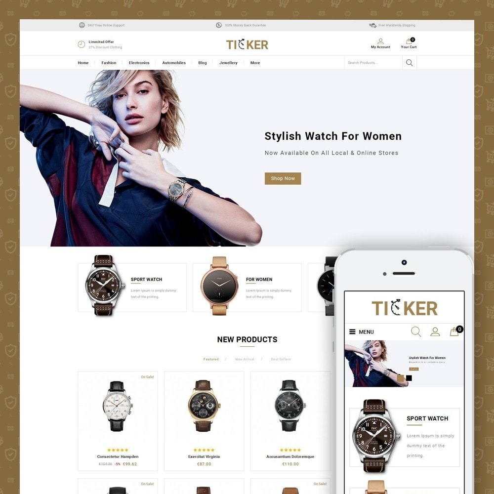 theme - Jewelry & Accessories - Ticker - Watch Store - 1