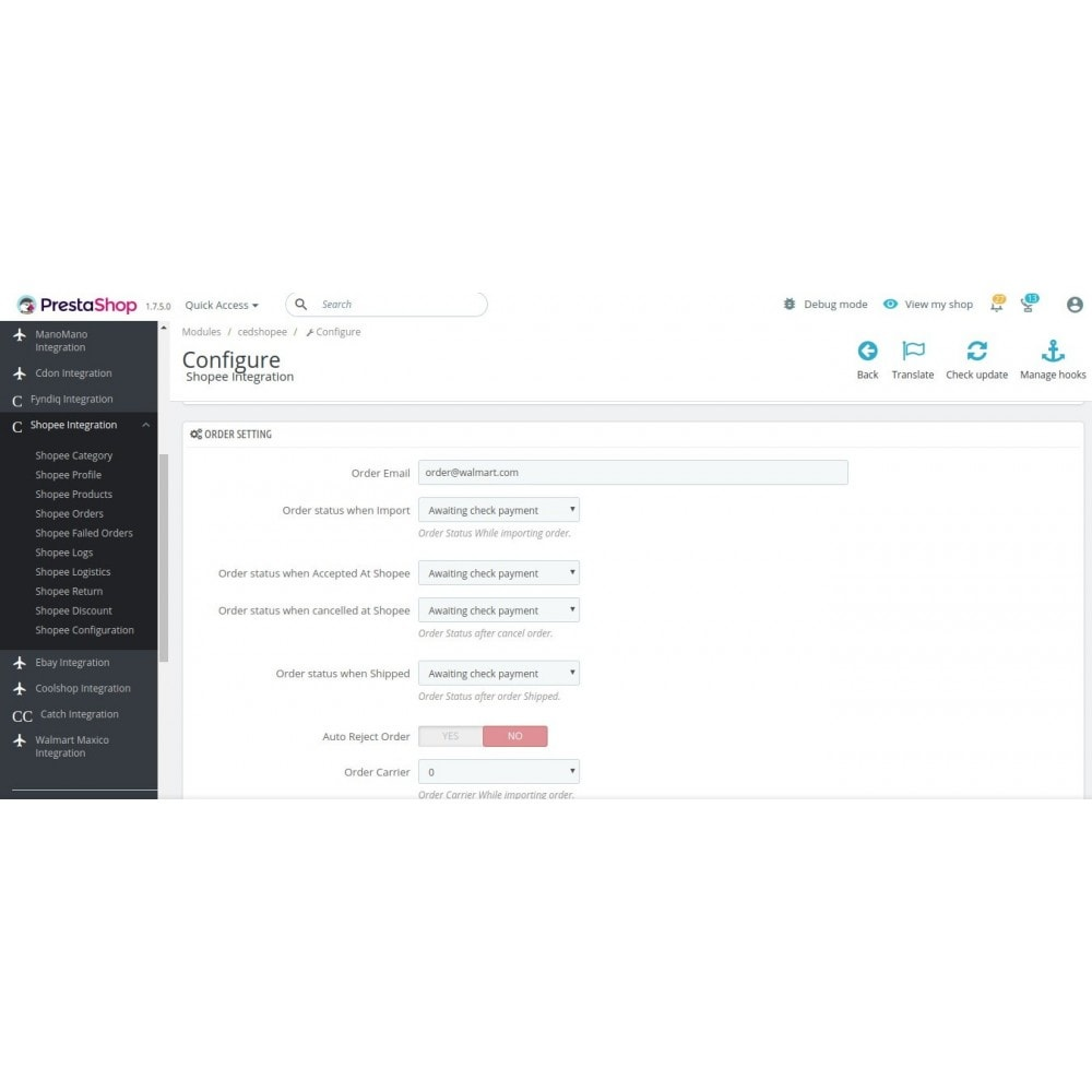 module - Integración con CRM, ERP... - CedCommerce Shopee Integration - 6