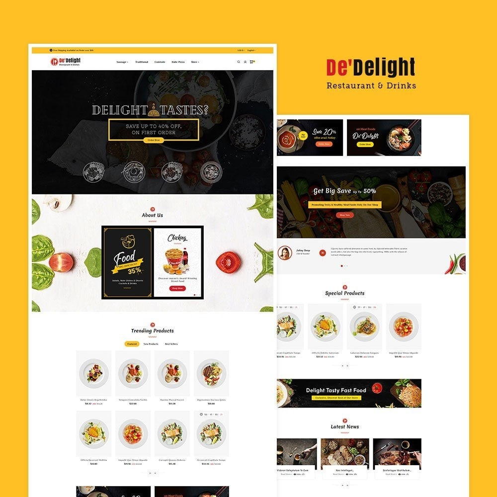 theme - Food & Restaurant - De Delight - Restaurant & Dishes - 2