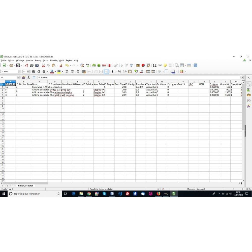 module - Import & Export de données - Export produits aux formats CSV, XLSX, JSON ou XML - 7