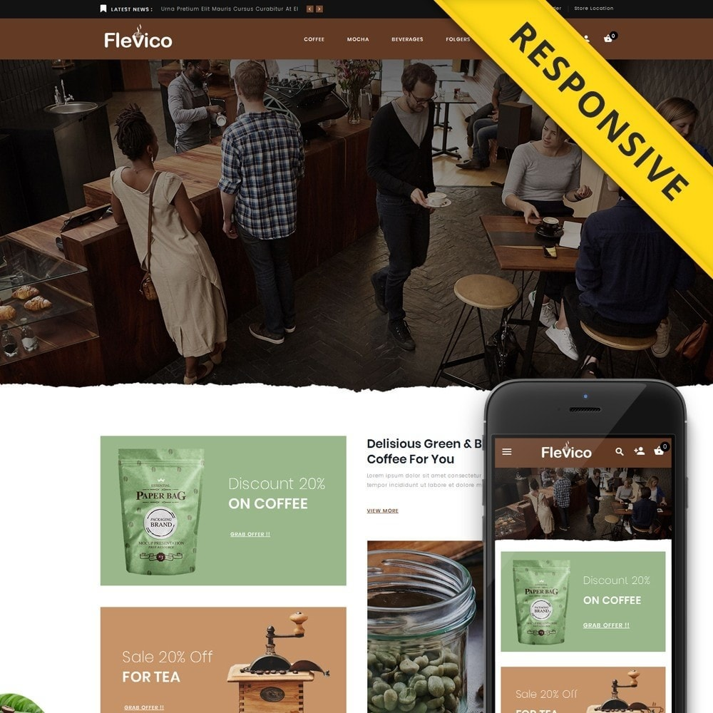 theme - Напитки и с сигареты - Flevico - Tea & Coffee Shop - 1