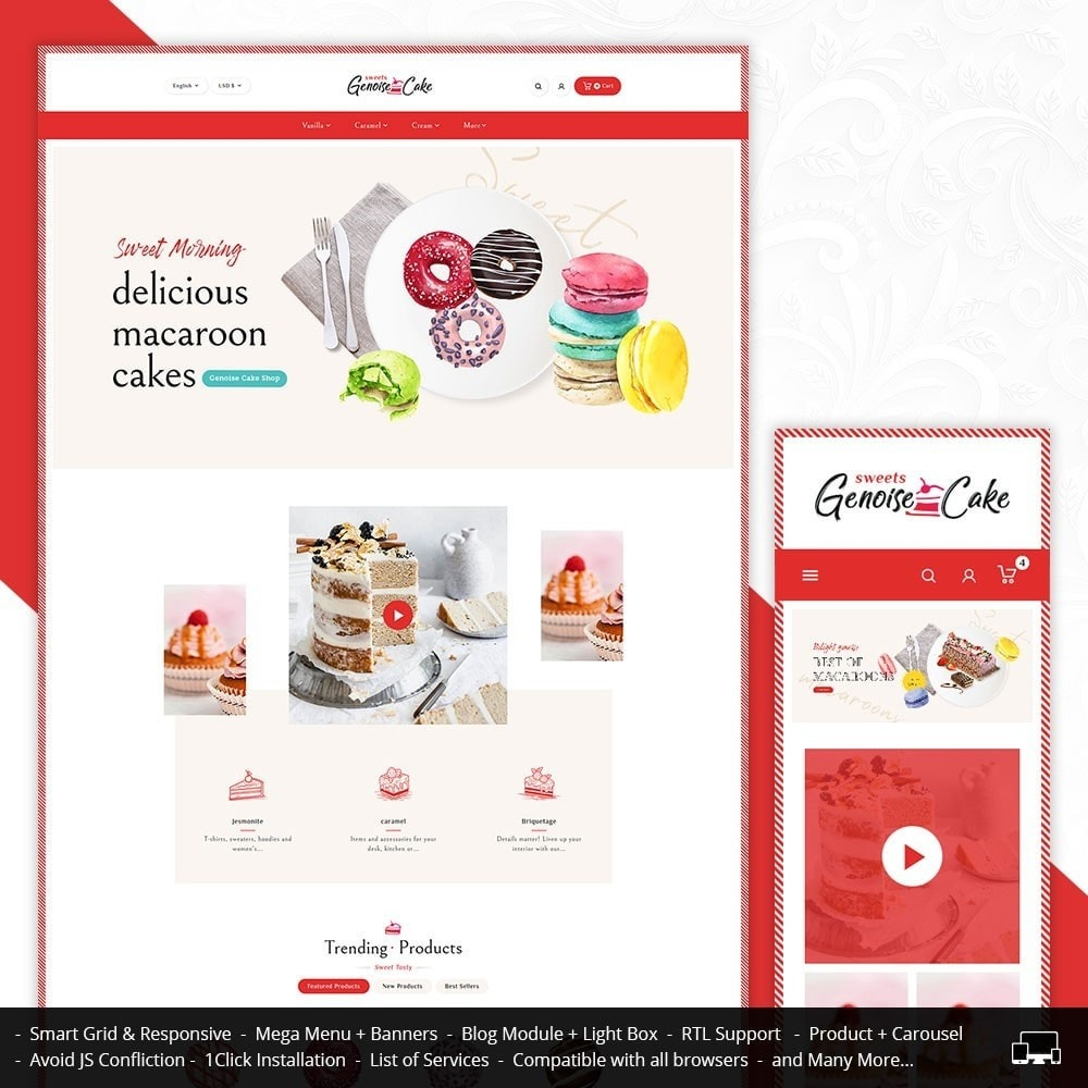 theme - Cadeaux, Fleurs et Fêtes - Genoise - Macaroon Cakes & Sweets - 1