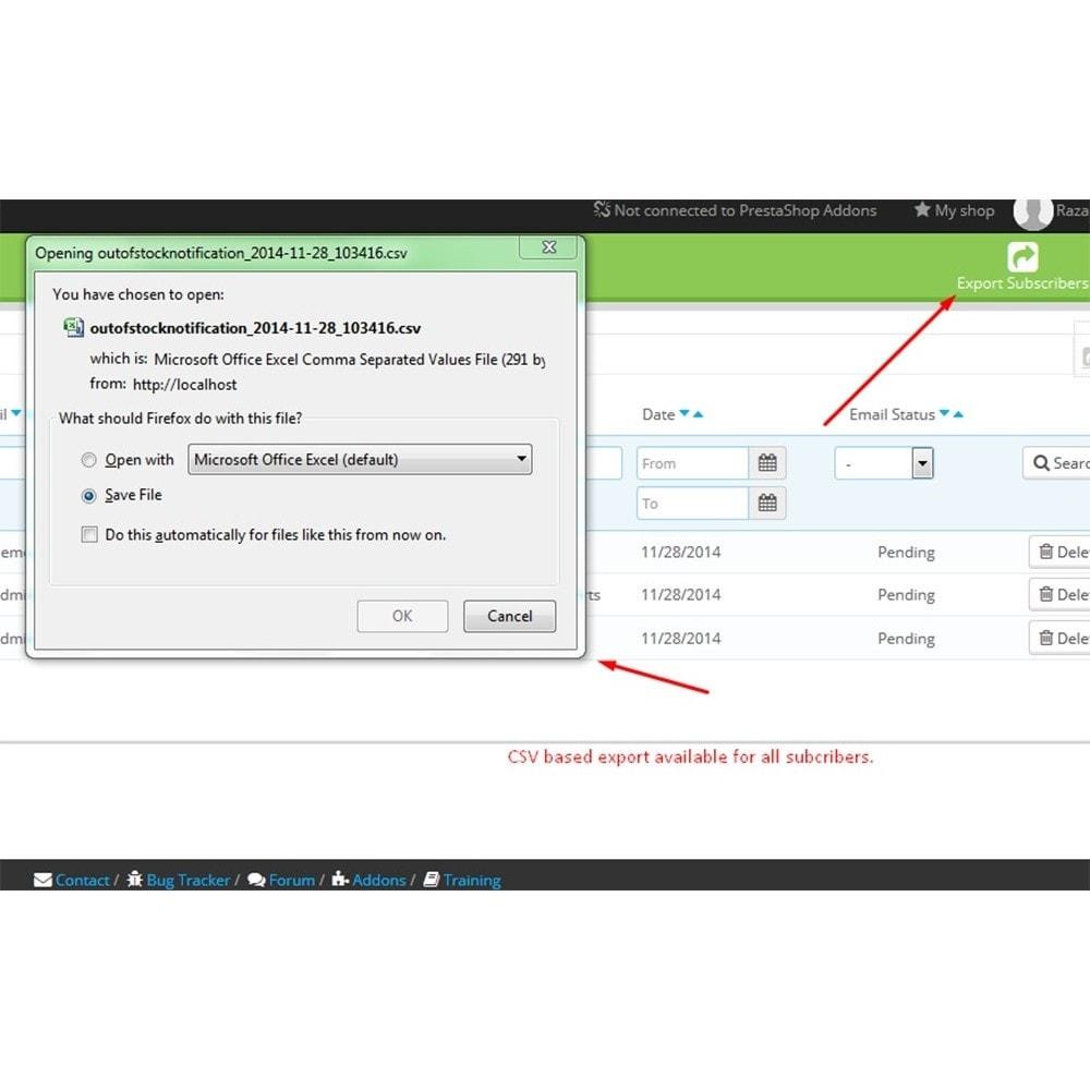 module - Emails & Notificaties - Niet op voorraad Melding - 10