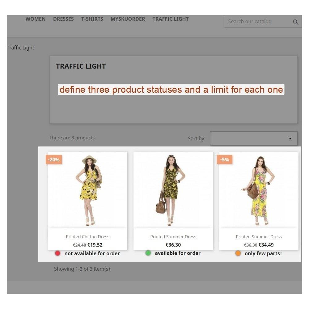module - Informaciones adicionales y Pestañas - Traffic light function - Product availability - 2