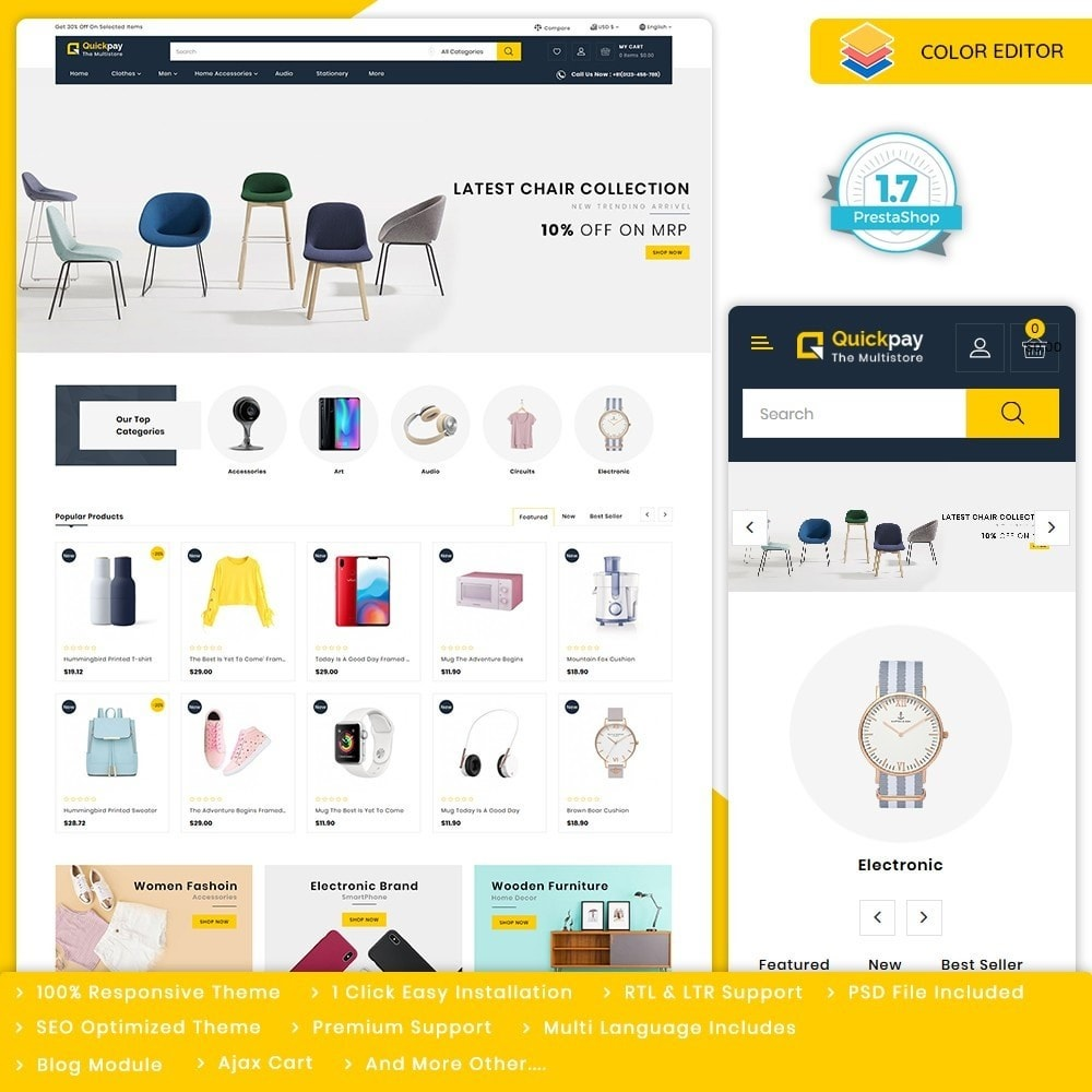 theme - Elektronika & High Tech - Quickpay - The MultiStore Theme - 1