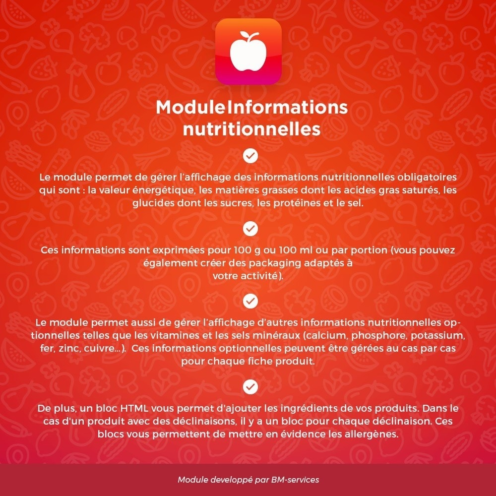 module - Alimentation & Restaurants - Informations nutritionnelles - 1