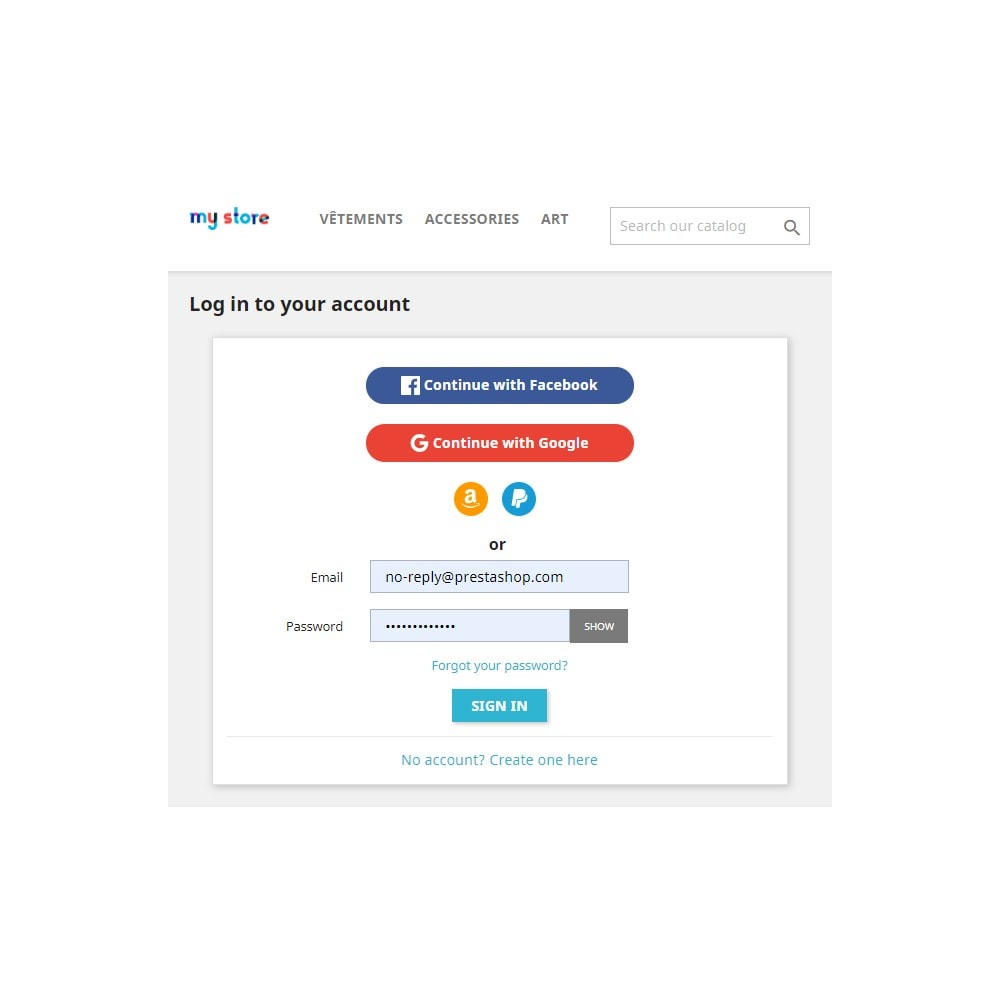 module - Social Login & Connect - Social Connect (Google, Facebook, PayPal, Amazon) - 2