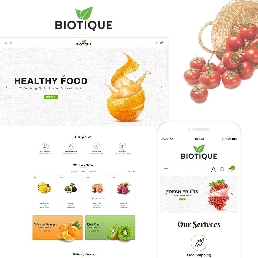 theme - Food & Restaurant - Biotique Organic–Grocery Food–Drink Multistore Store - 1