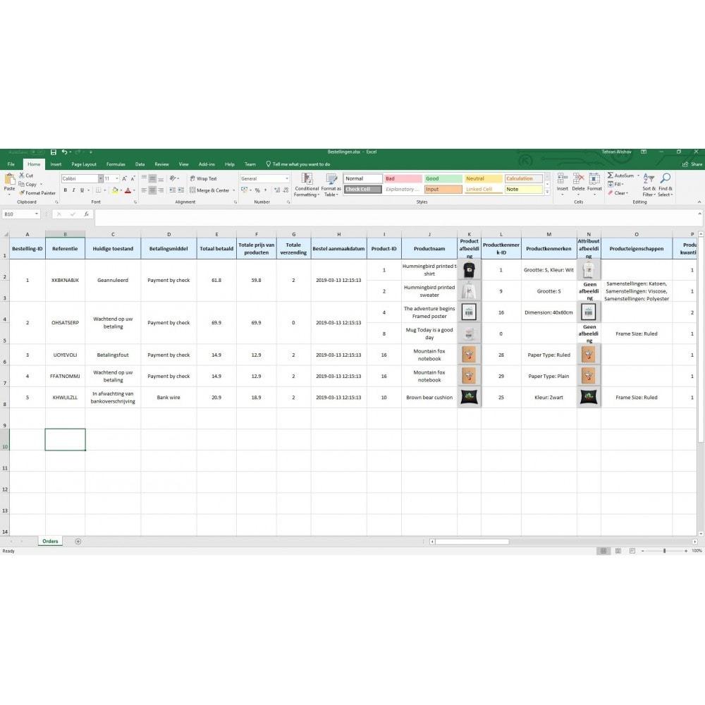 module - Importeren en Exporteren van data - Export van Bestellingen Pro (Excel, CSV, PDF,Email,FTP) - 9