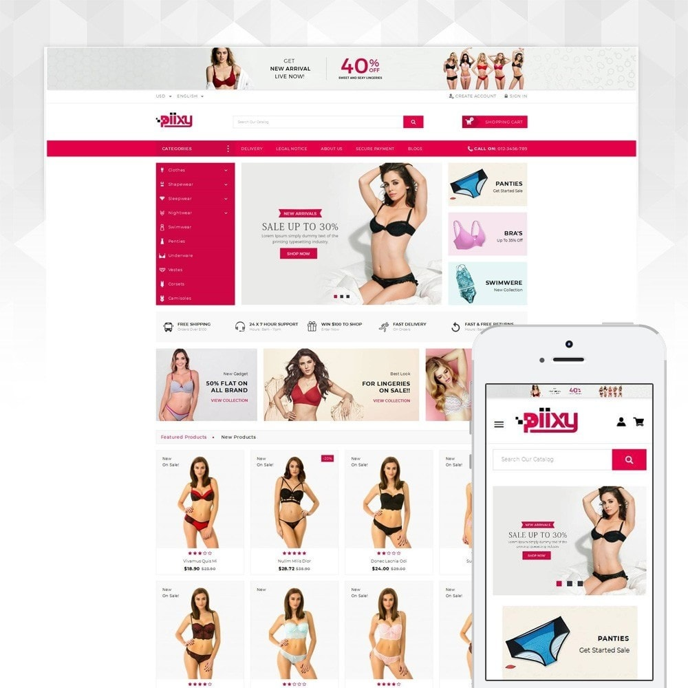 theme - Lenceria y Adultos - Piixy - Lingerie & Adult Shop - 1