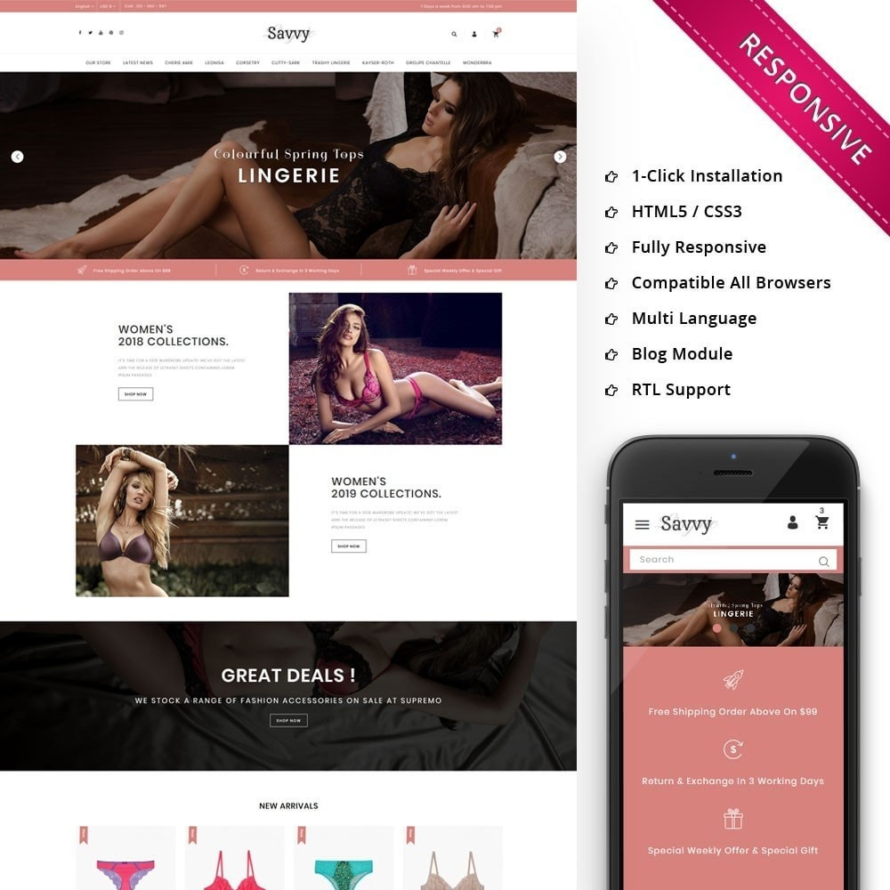 theme - Moda & Calzature - Savvy - The Lingerie Store - 1