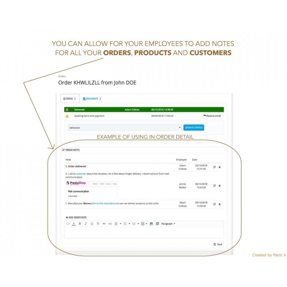 module - Inscripción y Proceso del pedido - Las notas para pedidos, productos y clientes - 1