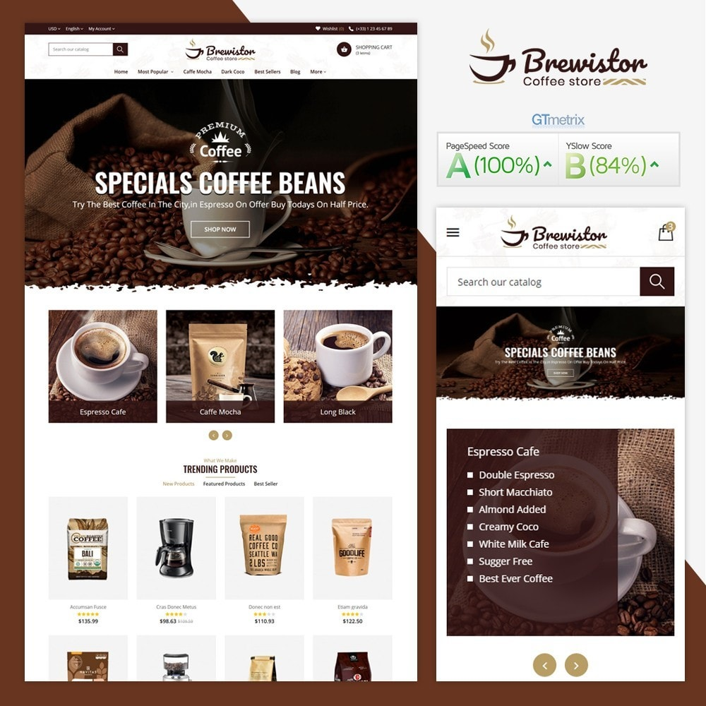theme - Alimentation & Restauration - Brewistor - Coffee Store - 1