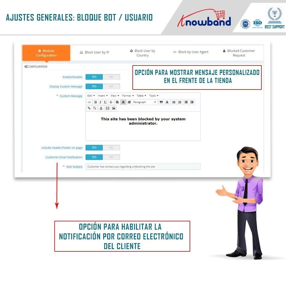 module - Seguridad y Accesos - Bloquear Bot/Usuario por IP, país o agente - 1