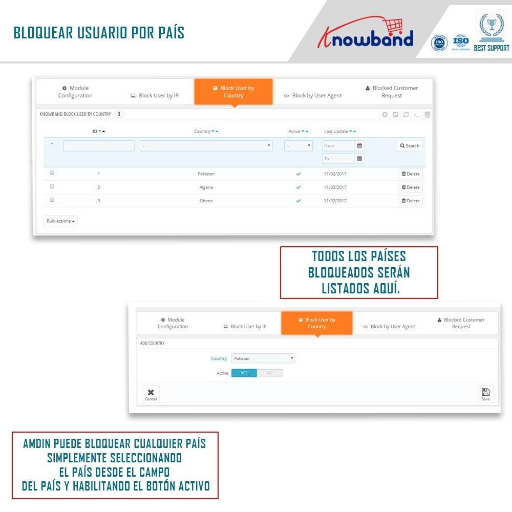 module - Seguridad y Accesos - Bloquear Bot/Usuario por IP, país o agente - 4