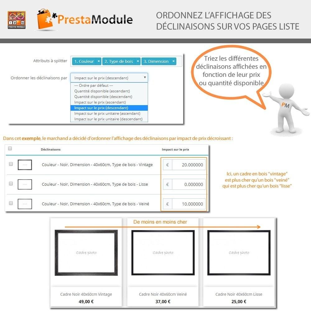 module - Déclinaisons & Personnalisation de produits - Products by Attributes: Afficher déclinaisons-attributs - 7