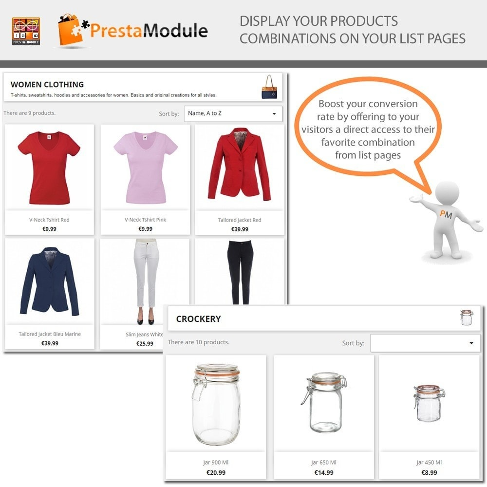 module - Combinations & Product Customization - Products by Attributes - Display combinations - 1