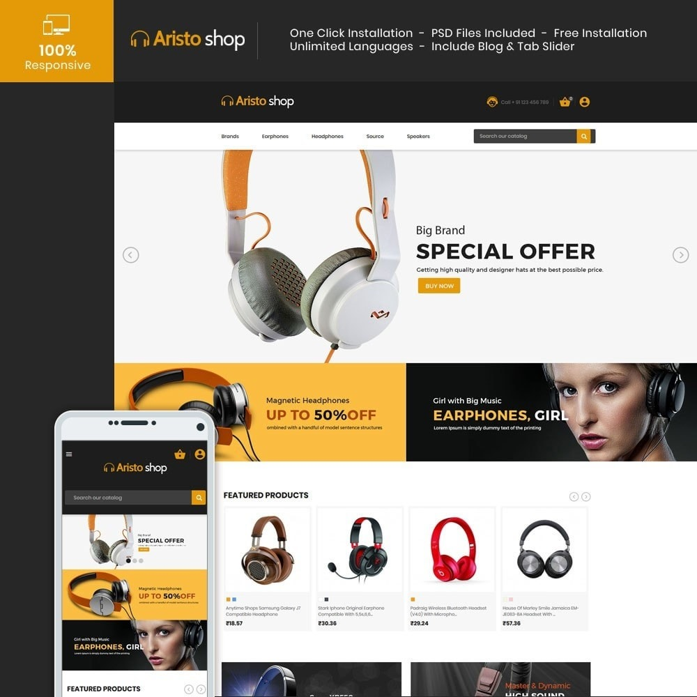 theme - Electronics & Computers - Headphone - Earphone Mobile Electronics Store - 1