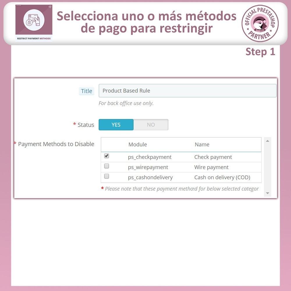 module - Otros métodos de pago - Restringir Métodos De Pago - 5