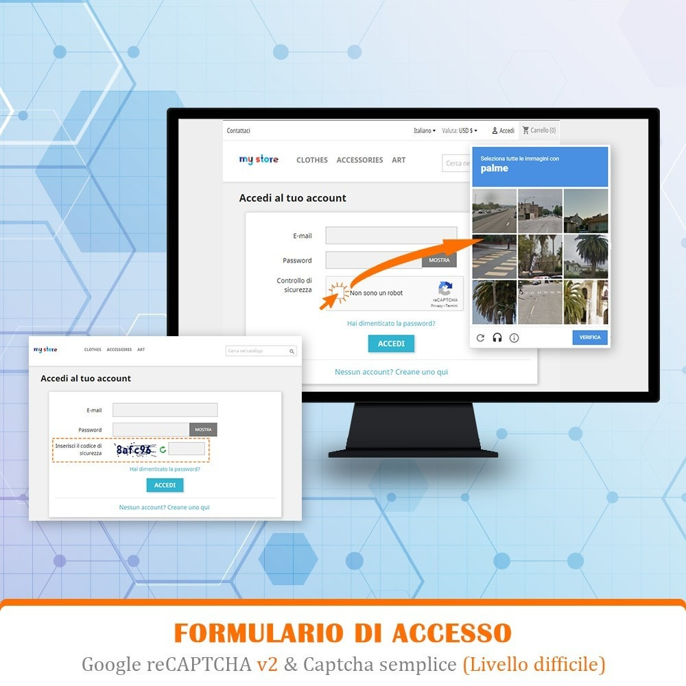 module - Security & Access - CAPTCHA - reCAPTCHA - Anti spam - Anti conti falsi - 6