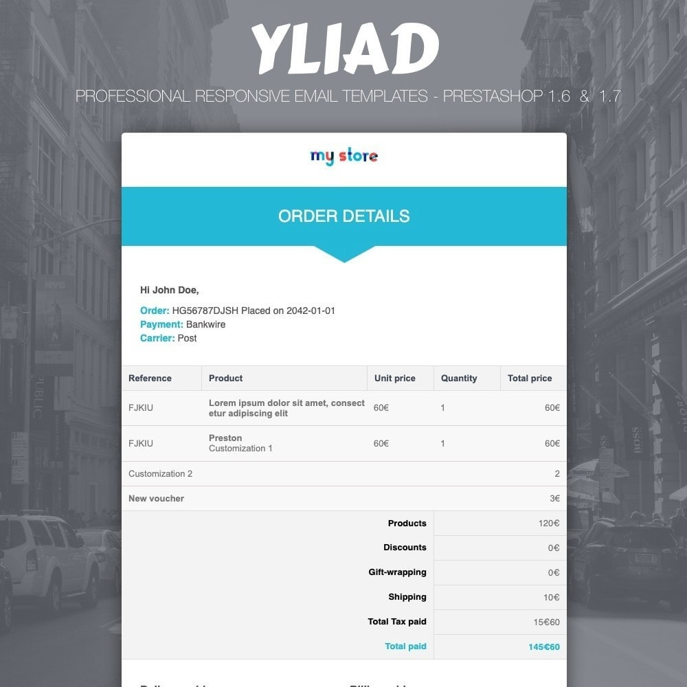 email - E-mailtemplates van PrestaShop - Yliad - Professional and responsive email templates - 1