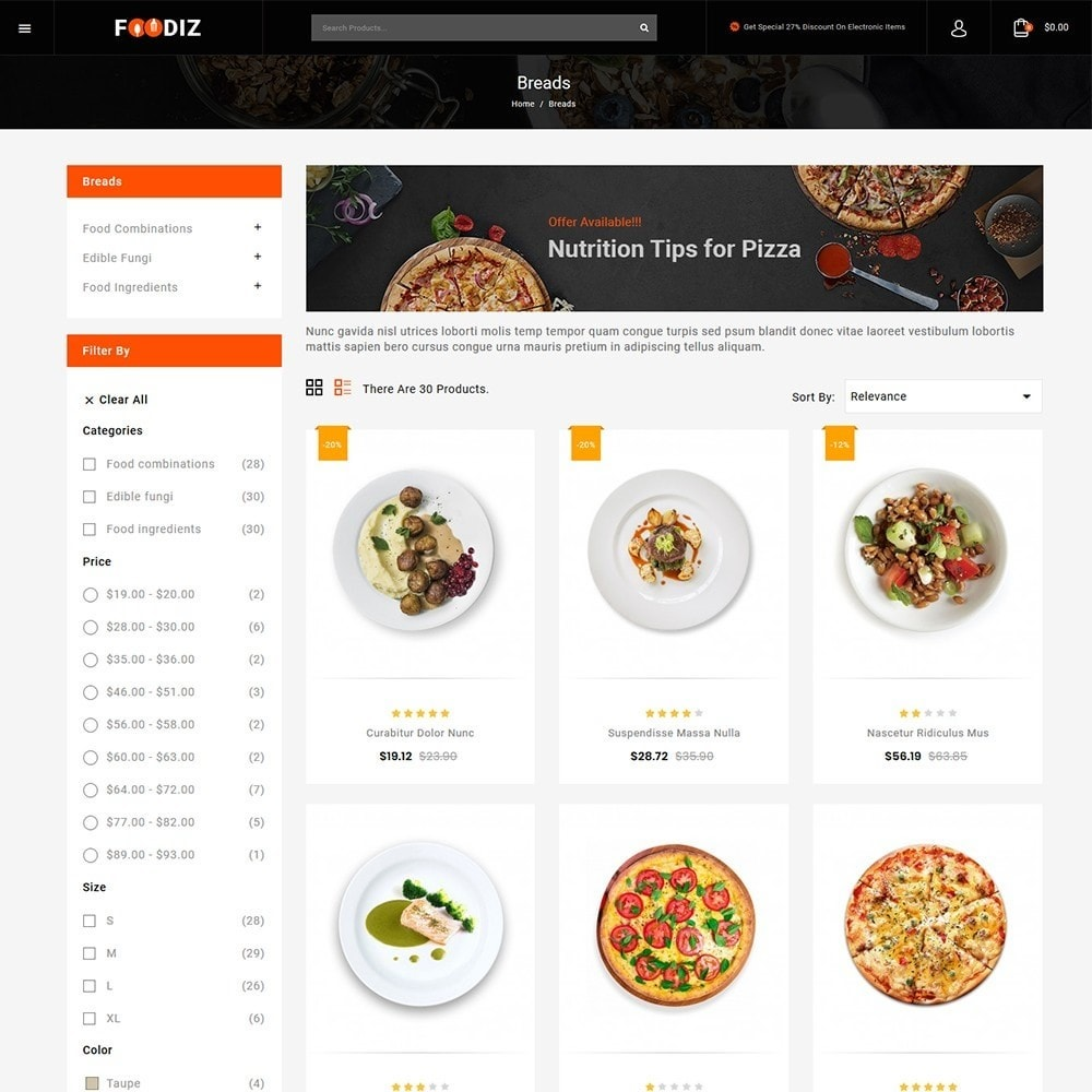 theme - Alimentos & Restaurantes - Foodiz - Restaurants Store - 3