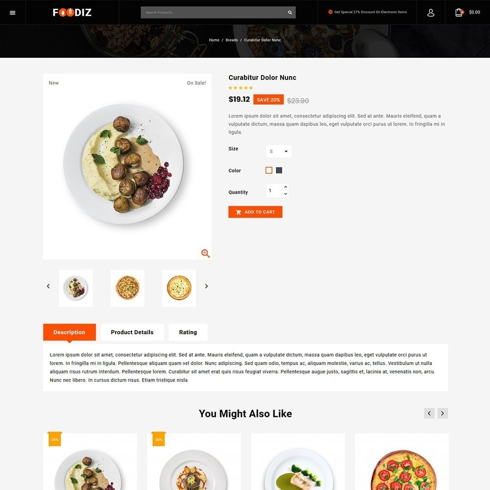 theme - Alimentos & Restaurantes - Foodiz - Restaurants Store - 4
