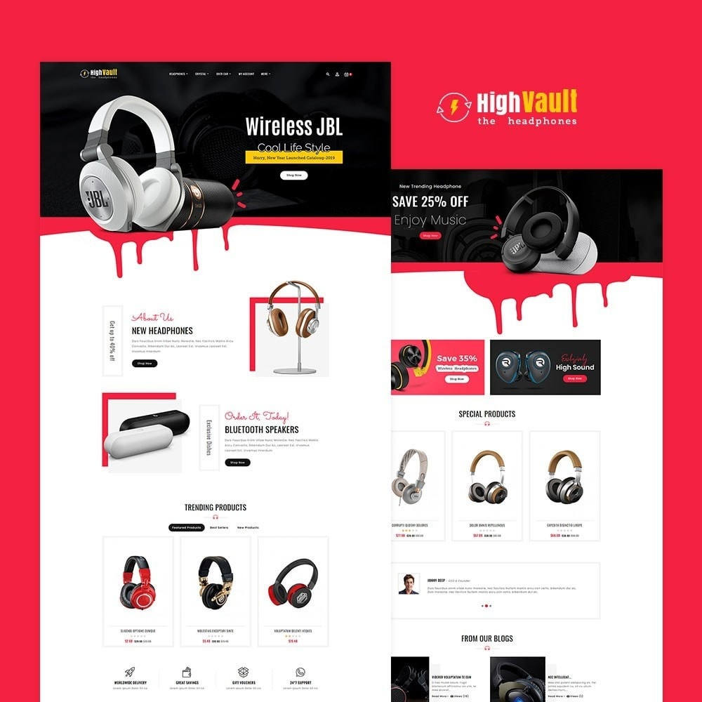 theme - Elektronica & High Tech - High Volt - Headphone Shop - 2