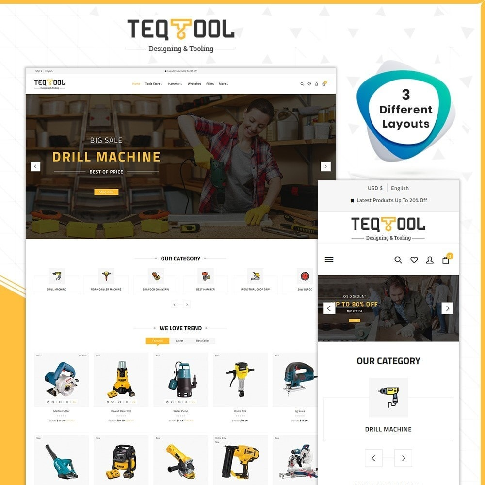 theme - Automotive & Cars - Teq Outils -Tools Store - 1