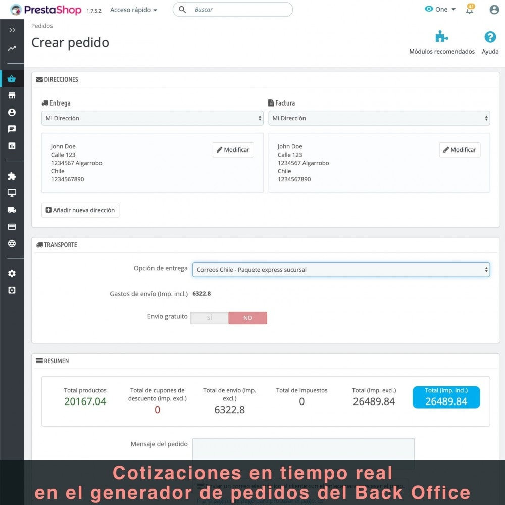 module - Verzendkosten - Correos Chile - 10