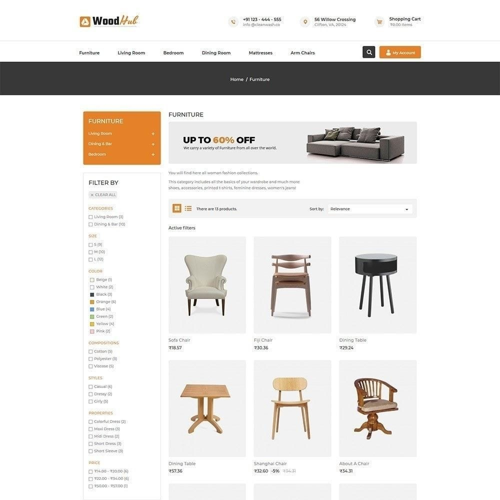 theme - Дом и сад - Wood Furniture - Магазин Дизайнер интерьера - 2
