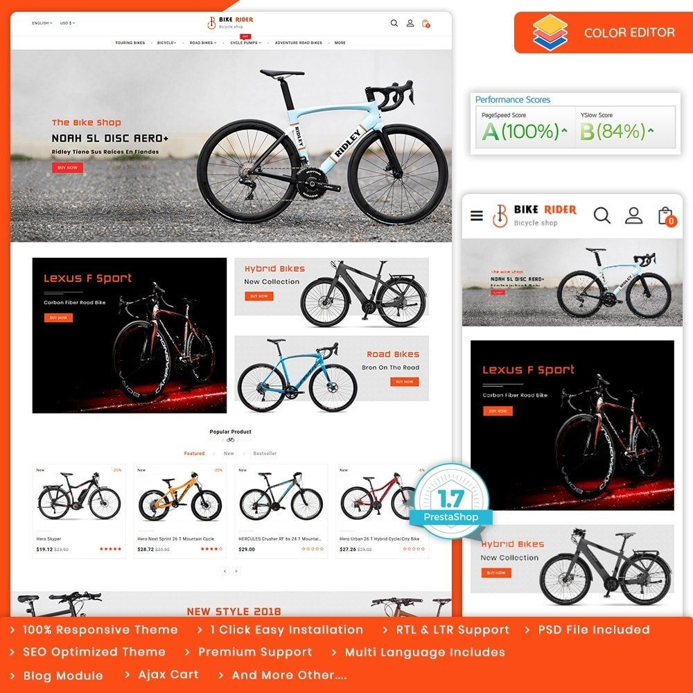 theme - Desporto, Actividades & Viagens - Bike Ryder - The Bicycle Store - 1