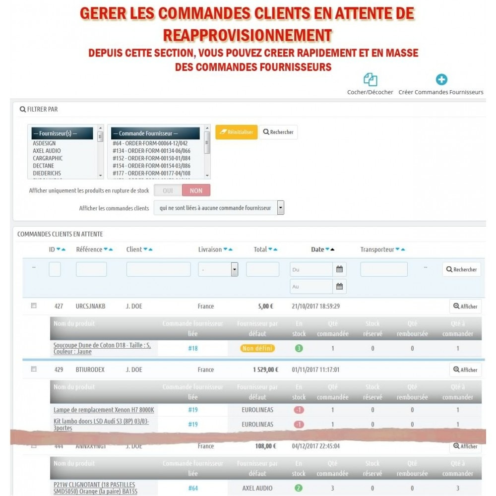 module - Gestion des Commandes - Wk Gestion Commandes Fournisseurs - 12