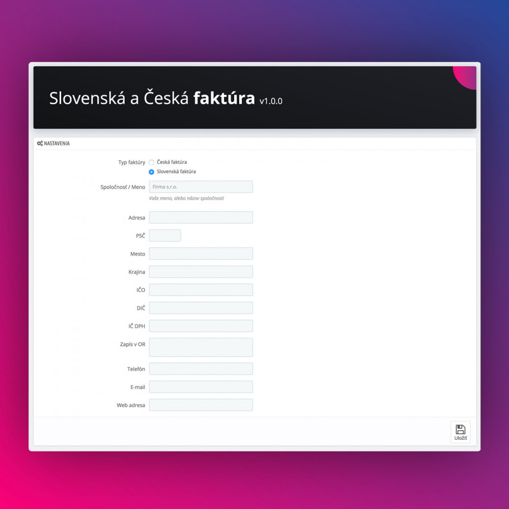 module - Contabilità & Fatturazione - Slovak and Czech Advanced Invoice - 2