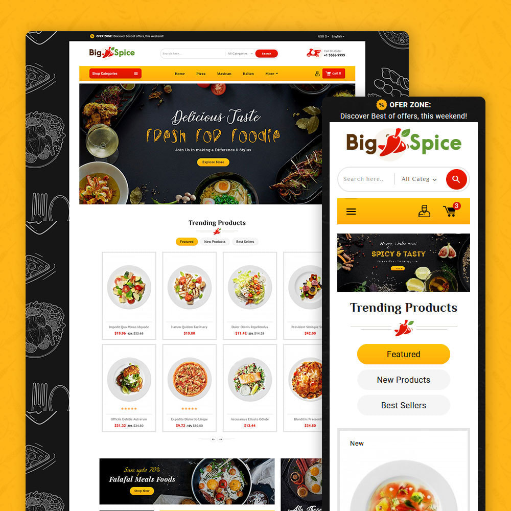 theme - Alimentation & Restauration - Big Spice - Fast Food & Dishes - 1
