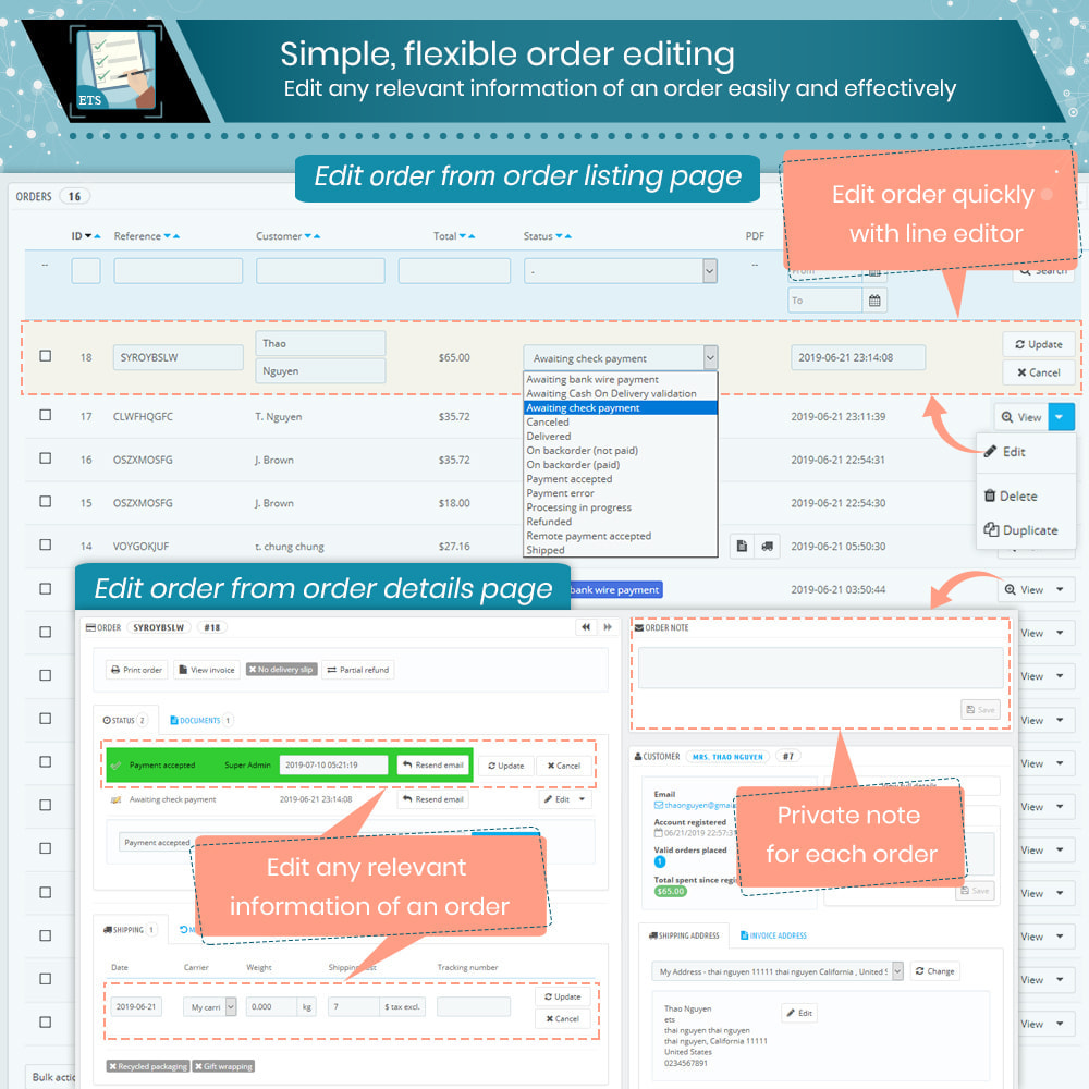 module - Gerenciamento de pedidos - Order Manager: Edit, delete, export, quick view & more - 2