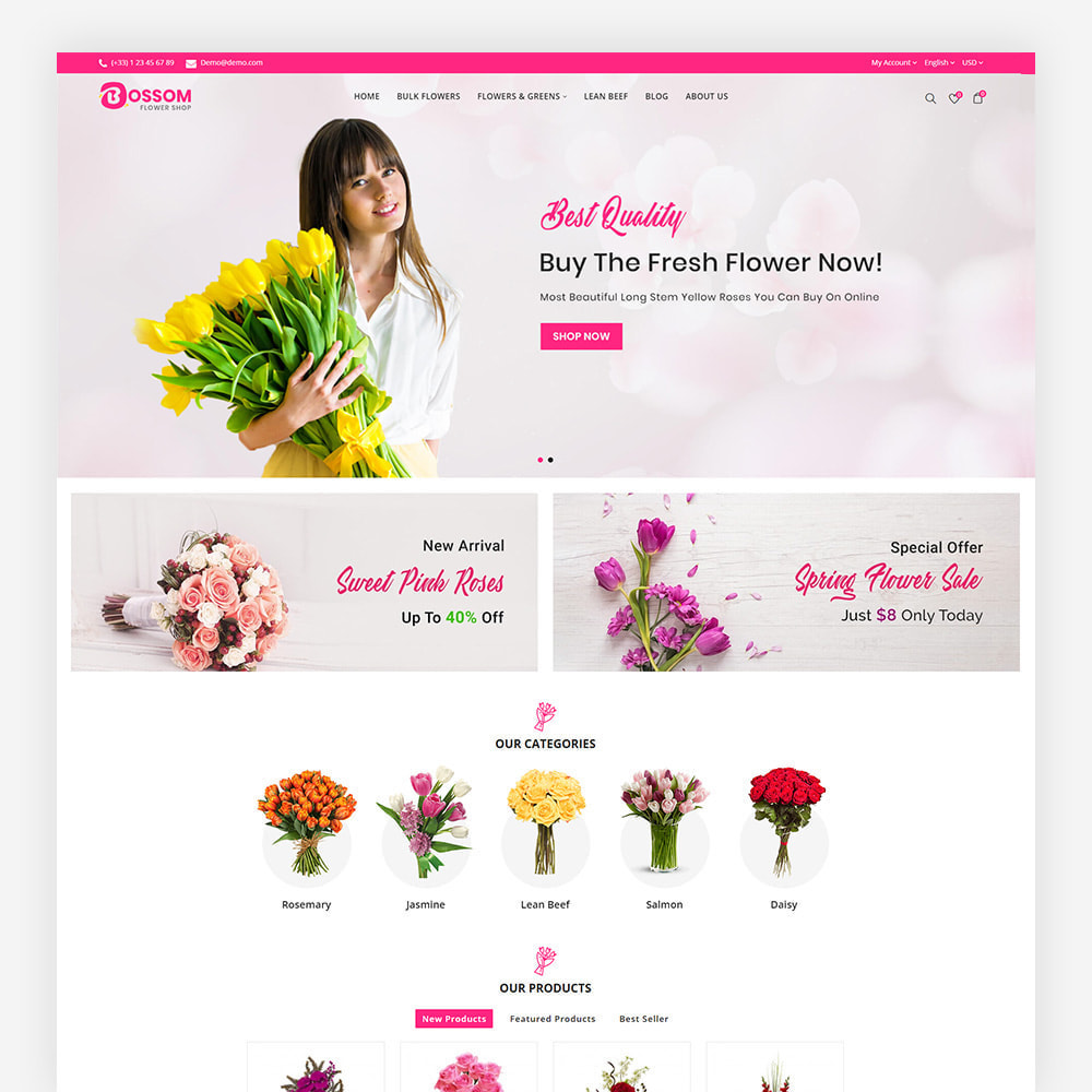 theme - Presentes, Flores & Comemorações - Bossom Flower Shop - 2