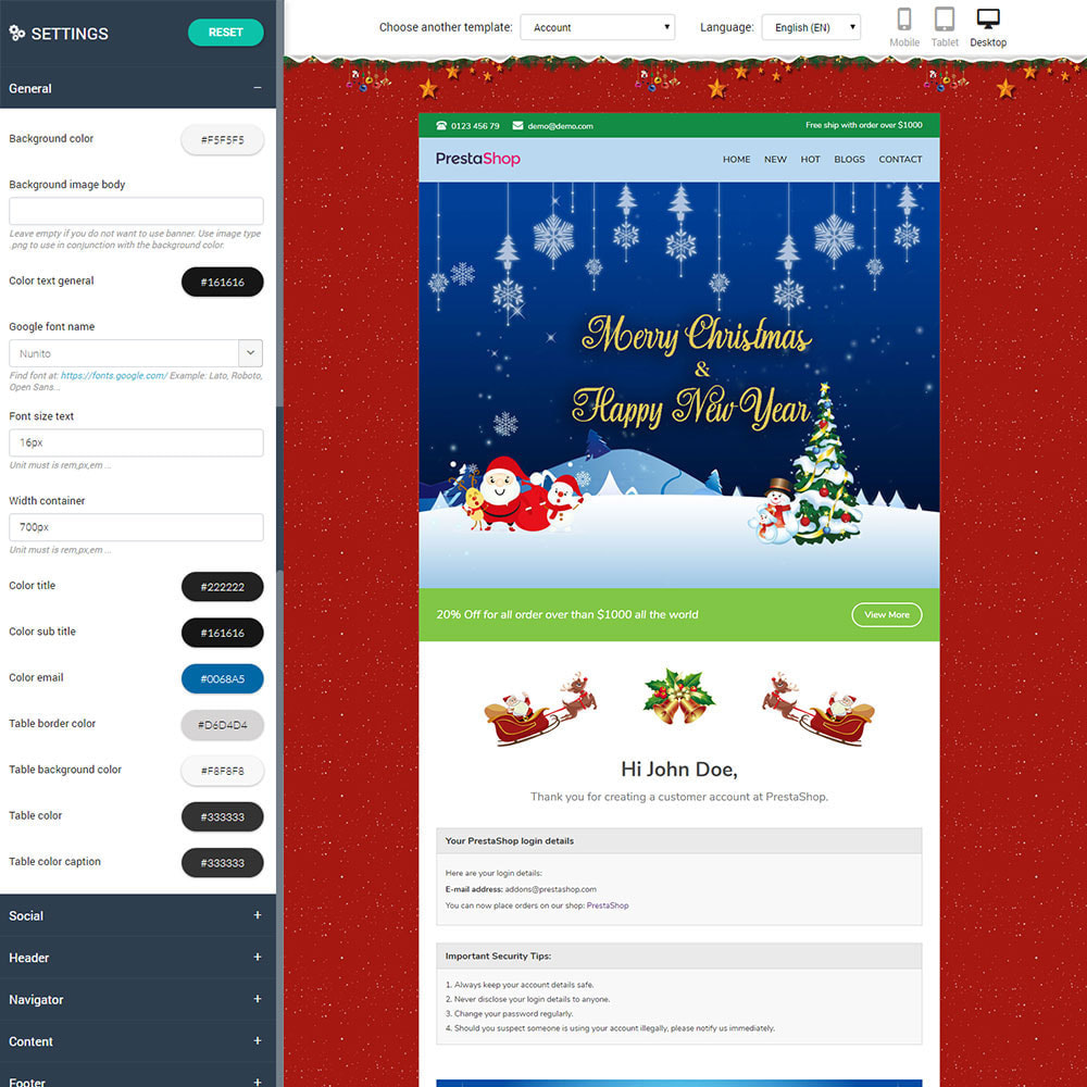 email - Modelos de e-mails da PrestaShop - Christmas - Template emails and for emails of module - 2