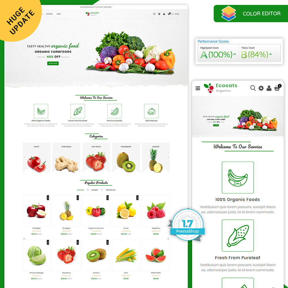 theme - Food & Restaurant - EcoEat - Organic Food - 1