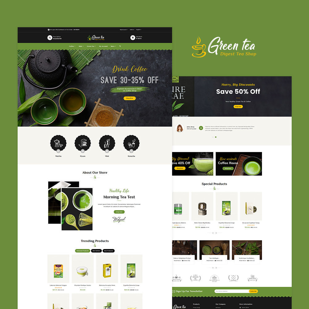 theme - Santé & Beauté - Green Tea - Digest Tea Shop - 2