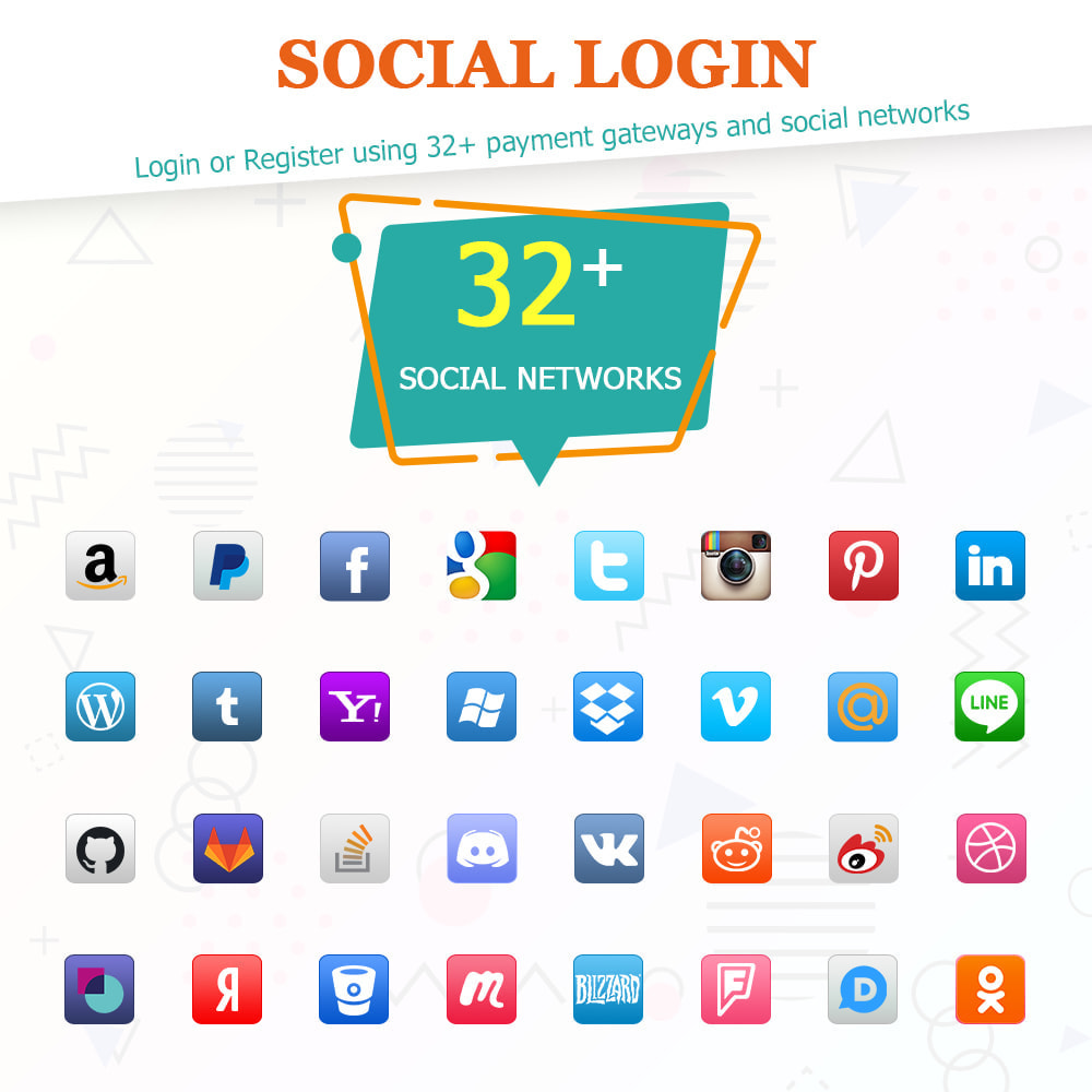 module - Social Login & Connect - SOCIAL LOGIN - 32+ social networks - 1