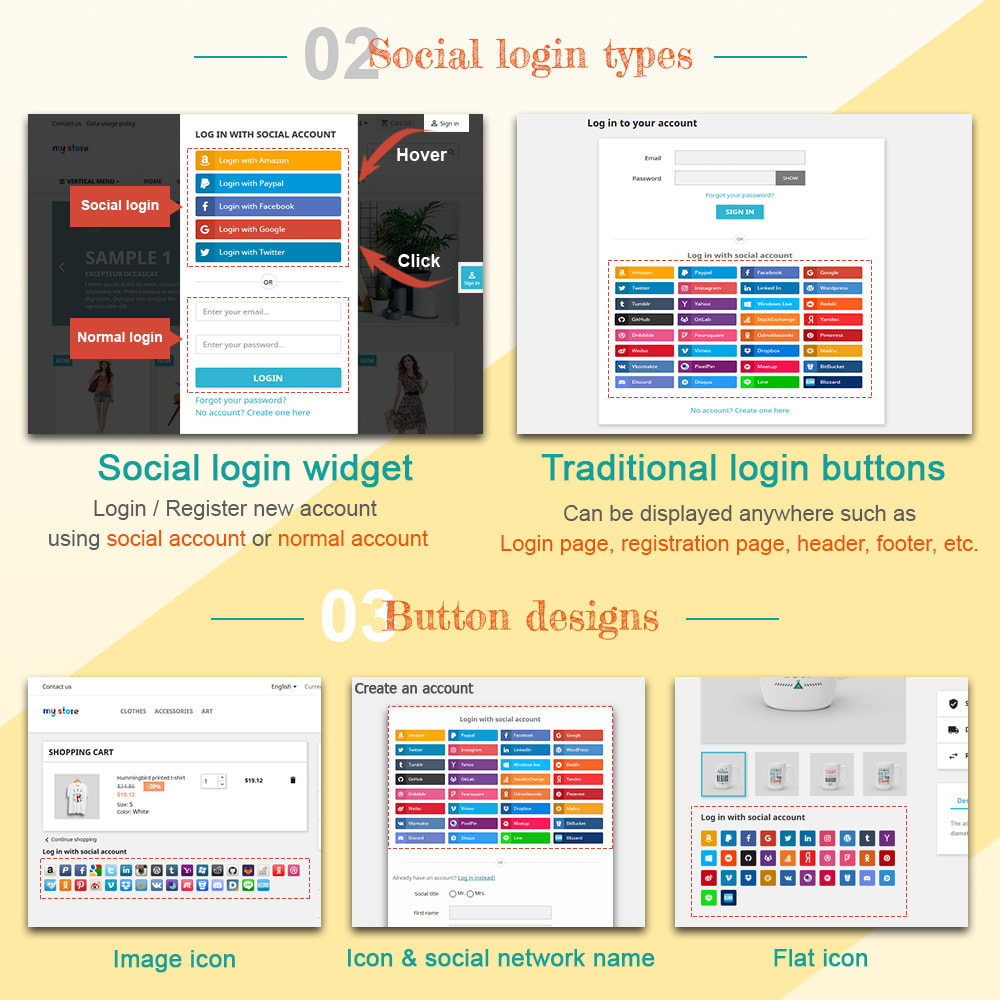module - Social Login & Connect - SOCIAL LOGIN - 32+ social networks - 2