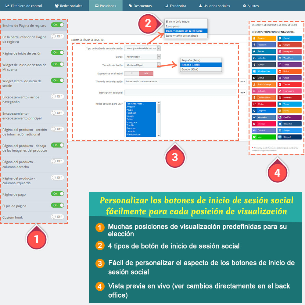 module - Botones de inicio de Sesión/Conexión - SOCIAL LOGIN - 32+ redes sociales - 5