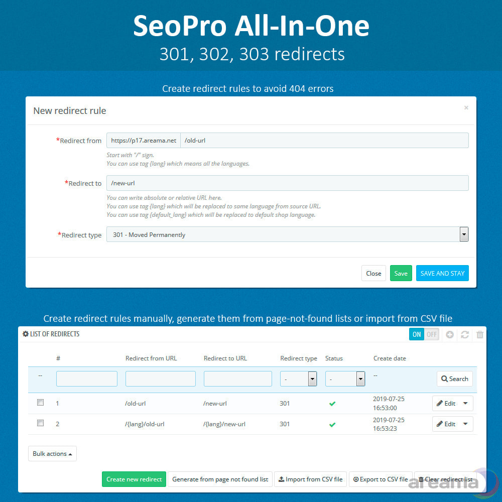 module - SEO (Referenciamento natural) - SEO Pro All-In-One. URL cleaner, redirects, sitemaps... - 9